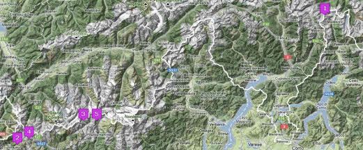 Hike overview map - Nearby Italian Alps