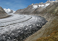 The Aletsch glacier, receeding fast but still imposing